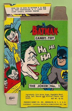1966 PHOENIX CANDY & TOY BATMAN BOX with the Joker