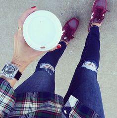 Fall essentials: Coffee, favorite flannel and the matching New Balance kicks.     Photo Credit: Instagram friend sarah_arseno