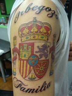 Spanish coats of arms tattoo. Tatuaje España