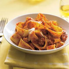 Dry white wine adds zip to this rustic dish of pappardelle pasta tossed with ground turkey, rosemary, marinara sauce and a mixture of carrots, onion and garlic, all dusted with grated Parmesan. Get the recipe. Pasta Recipes, New Recipes, Chicken Recipes, Dinner Recipes, Cooking Recipes, Favorite Recipes, Healthy Recipes, Dinner Ideas, Cooking Ideas