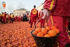 11 Festivals From Around The World That Are As Messy As Holi : Battle of the Oranges It's like La Tomatina, but with oranges. The Battle of the Oranges is the biggest food fight in Italy. People organize themselves into two groups and spend the day pelting oranges at each other. #fun #oranges #festival #advenjo #travel #story #amazing