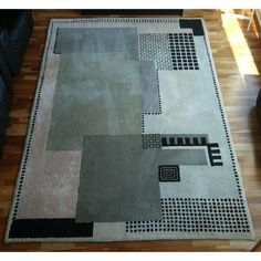 "Image of Toulemonde Bochart Art Deco Wool Rug 5'11"" x 8'8"" - love the geometric patterns in this rug (mjs)"
