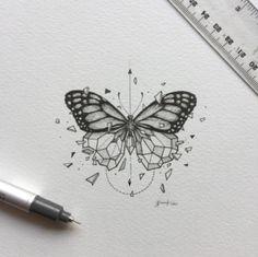 inspirational butterfly tattoo drawings, geometric tattoos, butterfly tattoo ideas for inspiration A Art Drawings Sketches, Tattoo Drawings, Body Art Tattoos, New Tattoos, Tattoo Sketches, Tatoos, Xoil Tattoos, Forearm Tattoos, Tattoo Ink