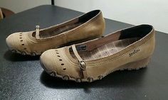 3f32f34df79c Sketchers Low Wedge Mary Jane Shoes Light Brown Womens Size 9 Buckle Detail