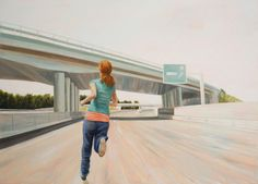 Austrian painter Bernard Ammerer combines the aesthetic of classical landscape with that of urban spaces. For Ammerer, highways, streets and their pedestrians are the new sublime. Hi Fructose, Pedestrian, Design Inspiration, Urban, Landscape, Creative, Illustration, Paintings, Artist