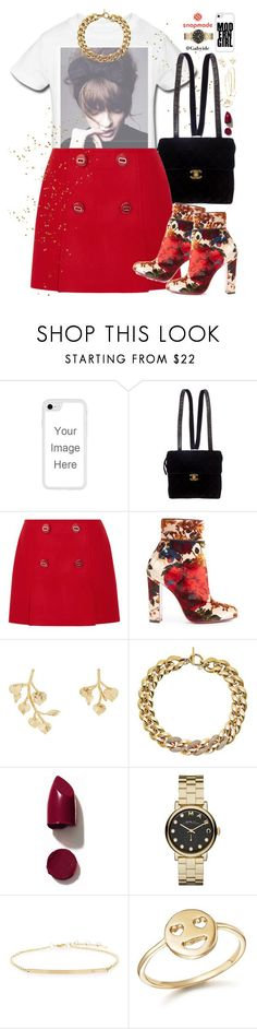 """Red and gold"" by gabyidc ❤ liked on Polyvore featuring Chanel, Prada, Christian Louboutin, Kenneth Jay Lane, Michael Kors, NARS Cosmetics, Marc by Marc Jacobs, ZoÃ« Chicco and Bing Bang"