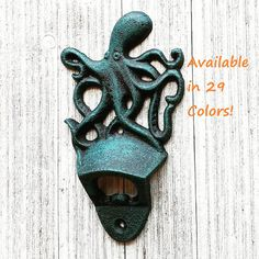 Octopus Decor, Bottle Opener Wall, Octopus Bottle Opener, Bottle Opener Wall Mount, Nautical Gifts, Housewarming Gifts, Nautical Decor, by SouthTexasHomeDecor on Etsy