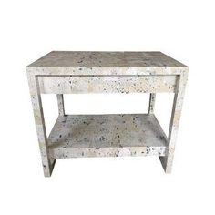 Custom Wallpapered Glass Top Side Table  // for sale on Chairish.com by CLOTH & KIND