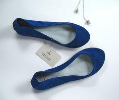 Blu Elettrico Soft Handmade Ballerinas