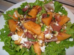 Melon Salad with Prosciutto and Goats Cheese