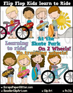 Flip Flop Kids Learn To Ride Bike Clip Art, Commercial Use, Clipart, Digital Image, Graphic, Digital, Instant Download, Child, Kids,…
