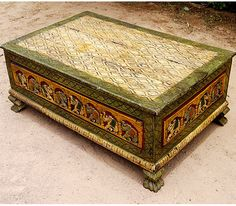 Rustic Distress Elephant Storage Box sofa Coffee Table eclectic-coffee-tables