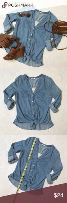 Chambray tie Front shirt Lace back panel medium Very cute candies Button Down tie Front shirt. Sleeves can be rolled up or down. It has a great lace panel back size Medium Candie's Tops Blouses