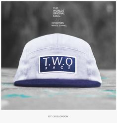 The Worlds Original Face TWO Face London1st Edition White Navy Corduroy Peak 5 Panel CapCotton Twill, Corduroy and Leather Strapback