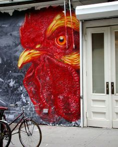 Chicken Grafitti, NYC. This would look awesome on a fence or on a kitchen wall