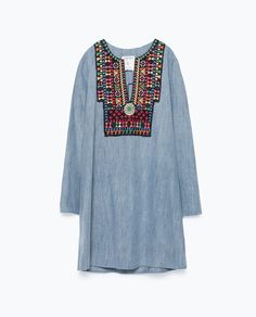 Image 8 of EMBROIDERED DENIM DRESS from Zara