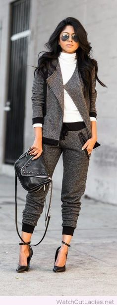 Awesome grey suit and white blouse