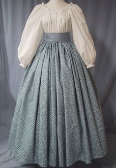 Calico Long Skirt Historical Costume by stitchintimedesigns