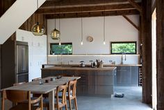 stainless steel island - and bare bones hanging light bulbs