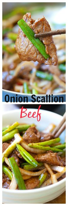 Onion scallion beef – tender beef stir-fry in yummy Chinese brown sauce. Super easy recipe that takes only 20 minutes! http://rasamalaysia.com/onion-scallion-beef/