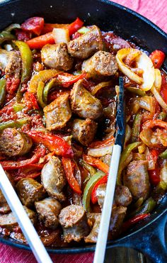 ITALIAN SAUSAGE & PEPPERS [USA, Italian-American Cuisine] [spicysouthernkitchen]