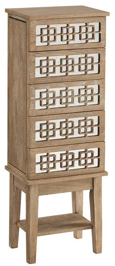 Features:  -Bottom shelf for display and storage.  -Decorative mirrored front.  -Four storage drawers.  Product Type: -Free standing.  Style: -Traditional/Bohemian.  Finish: -White wash.  Mirror Inclu