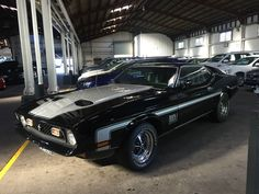 1970 Ford Mustang Mach 1 black coupe 351 V8 manual