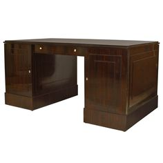 French Art Deco Calamander Desk by Dominique   From a unique collection of antique and modern desks and writing tables at https://www.1stdibs.com/furniture/tables/desks-writing-tables/
