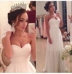 Hot Sale Summer Beach Wedding Dresses 2015 Sweetheart Backless Zipper White Chiffon Long Vestidos De Novia-in Wedding Dresses from Weddings & Events on Aliexpress.com | Alibaba Group