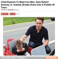 Boy Meets RDJ and Cries When He Discovers He Is Not Iron Man -- RDJ looks more distressed than the child.