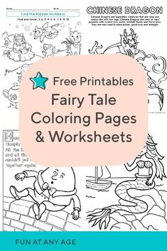 Fairy tale coloring pages and worksheets help your kid experience the magic and mystery of traditional stories. Try fairy tale coloring pages and worksheets. Printable Preschool Worksheets, Free Kindergarten Worksheets, Kindergarten Lesson Plans, Free Preschool, Preschool Ideas, Free Printables, Preschool Coloring Pages, Free Printable Coloring Pages, Fairy Tale Crafts