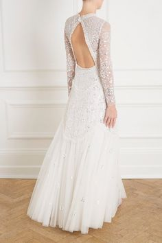 Tiered Gloss Gown in Ivory from the Needle & Thread SS19 Bridal Collection