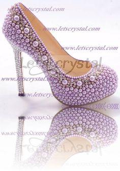 wedding high heel shoes swarovski crystal pearl by linajoyce, $218.00