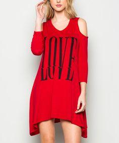 Acting Pro Red  Love  Three-Quarter Sleeve Cold Shoulder Dress b97c59a5b