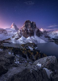 Mt. Assiniboine and Sunburst Peak, Banff National Park, Canada; photo by .Ted Gore