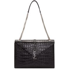 Saint Laurent Black Croc-Embossed Large Monogram Chain Bag (3,290 CAD) ❤ liked on Polyvore featuring bags, handbags, shoulder bags, crocodile shoulder bag, monogram handbags, crocodile handbag, structured handbag and structured purse