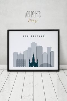 New Orleans print, Poster, Wall art, New Orleans Louisiana skyline, City poster, Typography art Home Decor, Digital Print ART PRINTS VICKY.