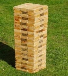 Giant Jenga is a life sized version of the old table top game you remember from the past. It is easy to make and here, we go through it step by step.