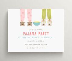 pajama party birthday invitation set // sleep over by OliveandStar