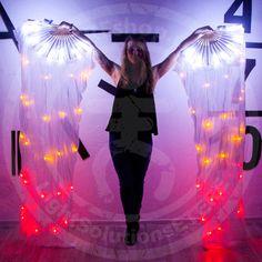 LED Fan Veils 50 LEDs for belly dance real silk por EtereShop