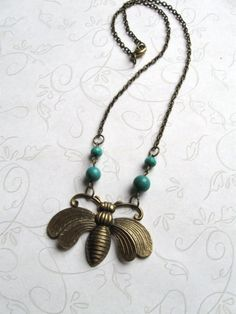 Large Honey Bee Necklace with turquoise beads  by botanicalbird