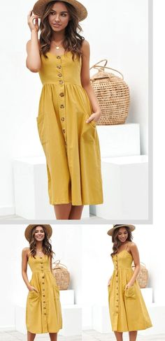 Mustard Yellow Sundress – Pocket Love Source by sundress outfit Floral Beach Dresses, Long Sleeve Floral Dress, Casual Summer Dresses, Summer Dresses For Women, Sun Dresses, Summer Clothes, Summer Outfits, Sundress Outfit, Yellow Sundress