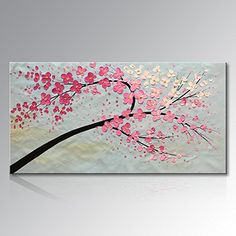 """Seekland Art Hand Painted Floral Canvas Art Modern Abstract Wall Deco Picture Pink Plum Blossom Flower Oil Painting Stretched and Ready to Hang ( Framed 48""""W x 24""""H)"""