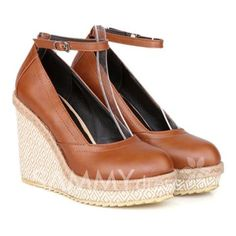 $25.18 Sweet Women's Wedge Shoes With Belt and Weaving Design