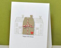 handmade housewarming cards | Hand Stamped New Home Greeting Card // Housewarming Card // New Home ...