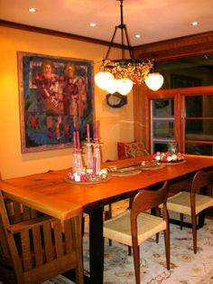 The new dining room with window seat.