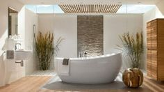 Gallery of Natural Bathroom Design with Unique Bathtubs Design by Villeroy Simple Bathroom Designs, Modern Bathroom Design, Bath Design, Bathroom Interior, Bathroom Furniture, Toilet Design, Sink Design, Shower Designs, Classic Bathroom