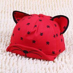 Ruxi New Spring Hip hop Carton Cute Cat kid baseball caps (red)