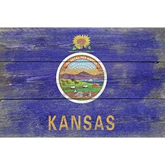 Rustic Kansas State Flag (12x18 SIGNED Print Master Art Print w/ Certificate of Authenticity - Wall Decor Travel Poster) *** To view further for this item, visit the image link. (This is an affiliate link) #WallArt