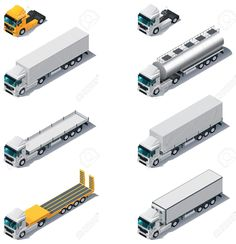 Vector Isometric Transport Trucks With Semi-trailers Royalty Free Cliparts, Vectors, And Stock Illustration. Pic 12763728.